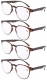 Reading Glasses 4-Pack Quality TR-90 Flexable Frame with Fashion Round Lens Include Sun Readers R060-4pcs