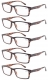 Reading Glasses 5-Pack Retro Style Readers with Spring Hinges Tortoise R057-5pcs