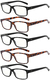 Reading Glasses 5 Pairs Quality Readers Spring Hinge Glasses for Reading for Men and Women R032-3BLACK-2DEMI
