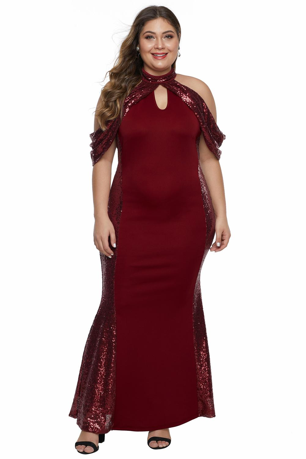 Final Sale Plus Size Keyhole Slit Sleeve Tie Gown in Red