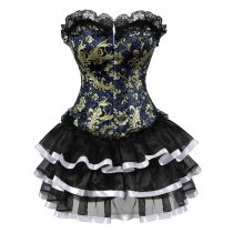 Golden Pattern Floral Black Lace Bustier Layered Dress Suit