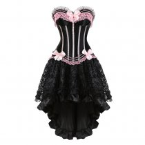 Lace Bowknot Top Elegant Stripes Long Dress Court Style Suit Corset