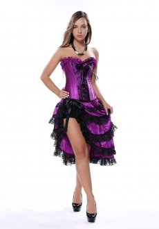 Floral Purple Lace Elegant Top Irregular Dress Suit Corset