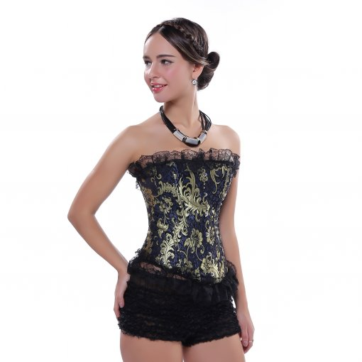 Luxurious Golden Pattern Lace Charming Top