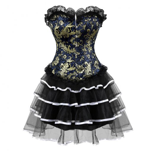 Luxurious Pattern Lace Charming Top Layered Dress Corset