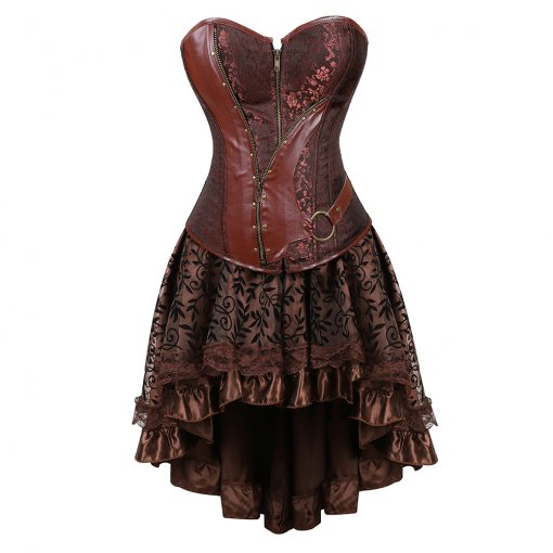 Faux Leather Metal Accessories Elegant Pattern Top Brown Lace Medium-length Dress Corset
