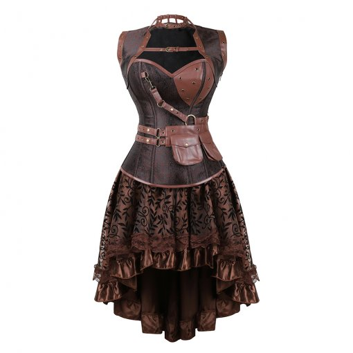 Leather Collar Packet Top Elegant Pattern Dress