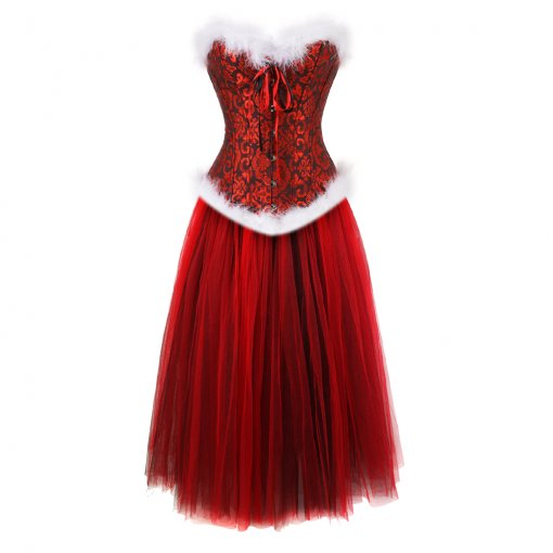 Purely-white Fur Elegant Stripes Ribbon  Bowknots Top Bright Red Long Dress Lined With Yarn Christmas Fashion Costume