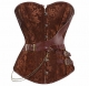 Ribbon Waist Cincher Bustier Gothic Style Noble Pattern Top