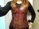 Metal Zipper  Ribbon Waist Cincher Leather Noble Top