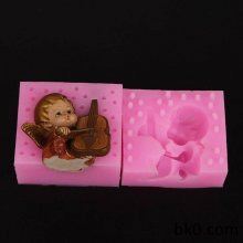 3D Music Angels Soap Candle Resin Gypsum Model Wedding candles silicone mold 3D soap silcon mold WA012