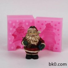 3D Christmas Mold Silicone Candle Christmas Santa Claus Trumpet Silicone Cake Mold WC017