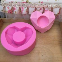 BK1145 heart shaped concret garden planter silicone molds cement flower pot mould Succulent plants pot molds