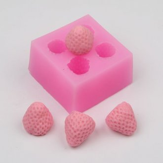 AZ004 Silicone Lovely 3d Strawberry Fondant Mold, Bolo Sugarcraft Paste Decoração Molde