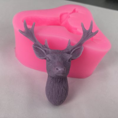 BK1051 3D Stag Head Silicone Molds Christmas Deer Fondant Cake Soap Mold Gumpaste Chocolate Mold