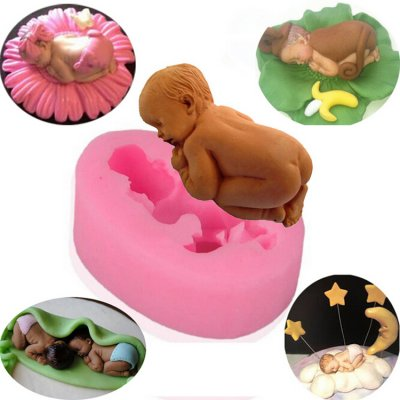 3D Sleeping Baby Shape Silicone Mold Fondant Cake Decorating Soap Mold Factory Direct AD002
