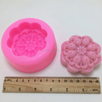 BN022 Great-Mold 3D Flower Round Silicone Soap Mold Candle Mold DIY Silicone Mold for Soap Candle Making