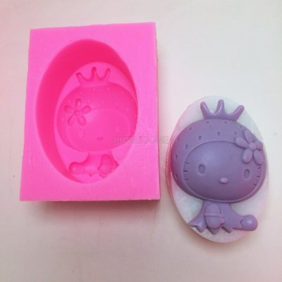 BN024 Cartoon Hello Kitty Cat Silicone Soap Mould Strawberry 3D Cake Mold Decoration Baking Tool Moulds