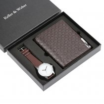 Famous Watches Christmas Gift Set for Men, Leisure Quartz Wrist Watch for Boy Boyfriend, Classic Purses for Dad Husband