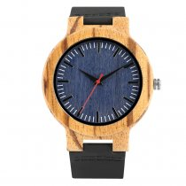 Fashion Hot Wooden Watches for Men, Black Leather Strap Quartz Wrist Watch, Best Gift Wristband for Men