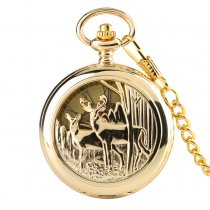 Deluxe Gold Pocket Watch for Women, Hollow Out Mechanics Pocket Watch for Man, Unique Rome Dial Pocket Watch for Lovers
