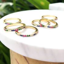 Colorful clear plain zircon ring , rainbow ring , mulited color ring. 23*23mm