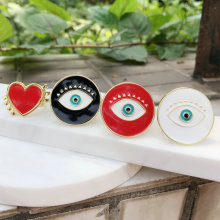 24k gold platiing eyes ring with Enamel ,free size,(red  white black Enamel) eyes ring , round eyes ring , red heart ring