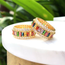 Colorful clear plain zircon ring , rainbow ring , mulited color ring. 6#.7#.8#.9#