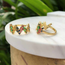 Hot Selling thin round zircon ring , colorful mulited ring. 6#.7#.8#.9#,different size