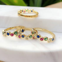 24K Gold Planting of Rainbow Rings Colorful zircon thin round ring