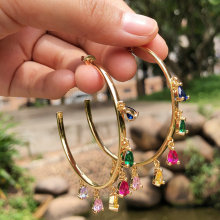 Big Half- round size colorful earring ,24K rainbow earring  53*53mm