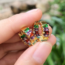 Colorful T zircon earring , pave rainbow earrings .Round Small earrings 15*15mm