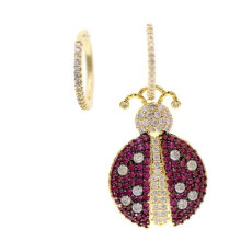 ladybug charms earring with pave zircon , red ladybug earrings , charms hoops earrings