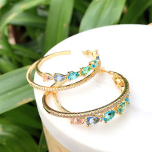 Colorful rainbow Earring colorful stone white clear stone Round Earring ,pave zircon hoops earring  46mm