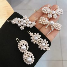 Flower butterfly shape handmade pearl hair clips for ladies.white hairpin length 5.5cm