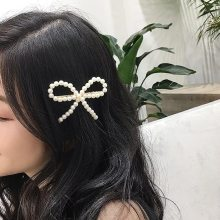 Handmade retro bowknot pearl hairpin for ladies.white/black/coffee color hairpin.7.5*9.5cm