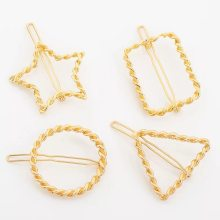 Geometric hairpin for ladies.gold hairpin.