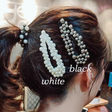 Handmade pearl hollowed hairpin for ladies.white/black/gold hairpin.8.5*3cm