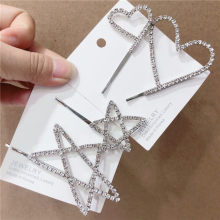 Zircon star peach heart full of drill clip for ladies.7*5cm