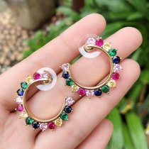 round zircon earring , mulited round earring , gold color