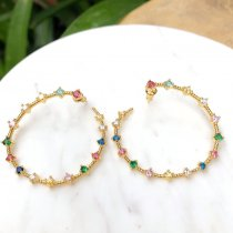 big size colorful round earring , rainbow earring , cz mulited earring. 40*40mm