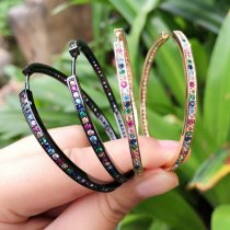 big size colorful hoops earring , rainbow earring , cz mulited earring ,gold and enamel color.53*53mm
