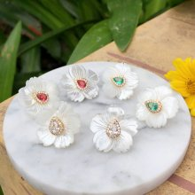 Mop Flowers Earring , Nature Shell Flowers Earring with Pave Jewelry , White Shell Flowers Earring 35mm