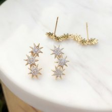 Pave zricon star earring stud  ,clear stone , gold color. 10*17mm