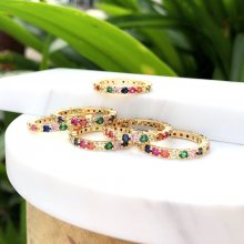 Hot Selling thin round zircon ring , colorful mulited ring. 24*24mm