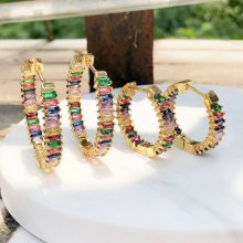 rainbow coloful hoop earring , big (small)  size hoop earring , gold color. 25*25mm