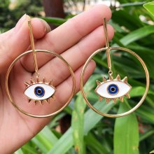 24K gold plating earring , round white enamel eyes earring , red enamel lip earring . 44*62mm