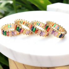 24K Gold Planting of Rainbow Rings Colorful zircon ,Oblong  stone,6#.7#.8#.9#
