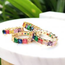 24K Gold Planting of Rainbow Rings Colorful zircon ,Square stone,6#.7#.8#.9#