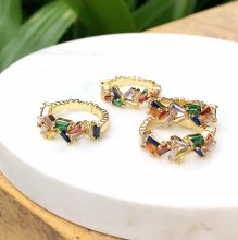 Gold-Planting Ring Colorful T -Zircon  ring  Free Size